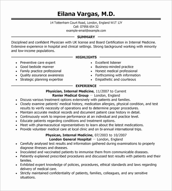 Free Resume Templates Download Pdf New Doctor Resume Template – 16 Free Word Excel Pdf format