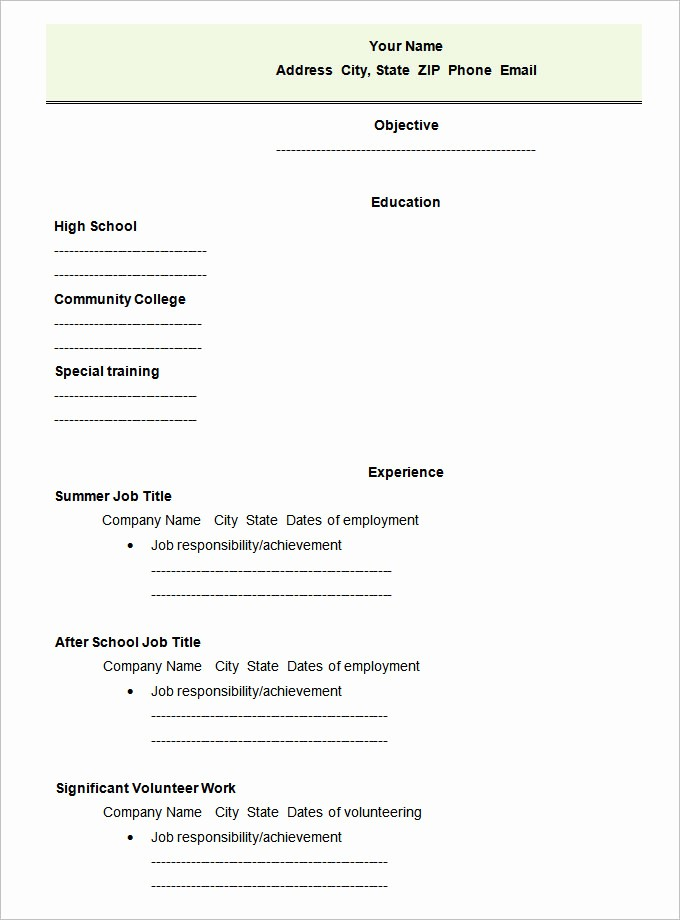 Free Resume Templates for Students Best Of 46 Blank Resume Templates Doc Pdf