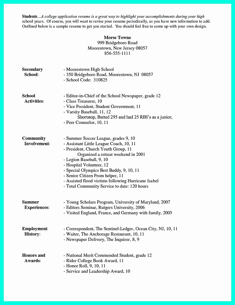 Free Resume Templates for Students Best Of for High School Students It is sometimes Troublesome to