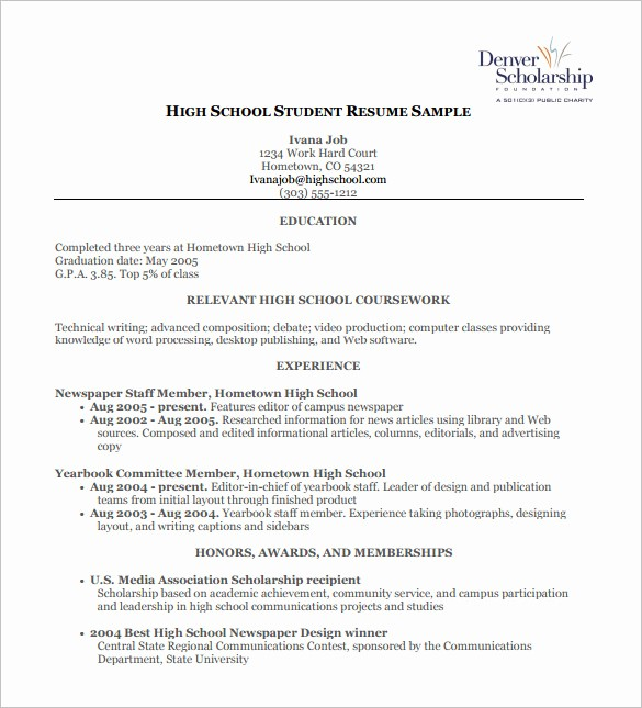 Free Resume Templates for Students Elegant High School Resume Template 9 Free Word Excel Pdf