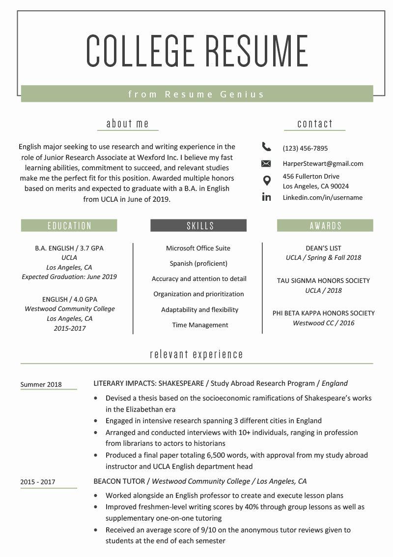 Free Resume Templates for Students Lovely College Student Resume Sample & Writing Tips