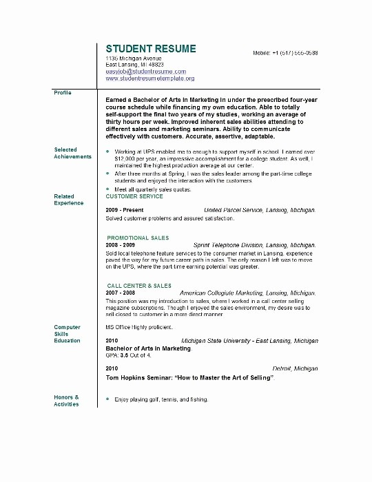 Free Resume Templates for Students Lovely Student Resume Templates Student Resume Template