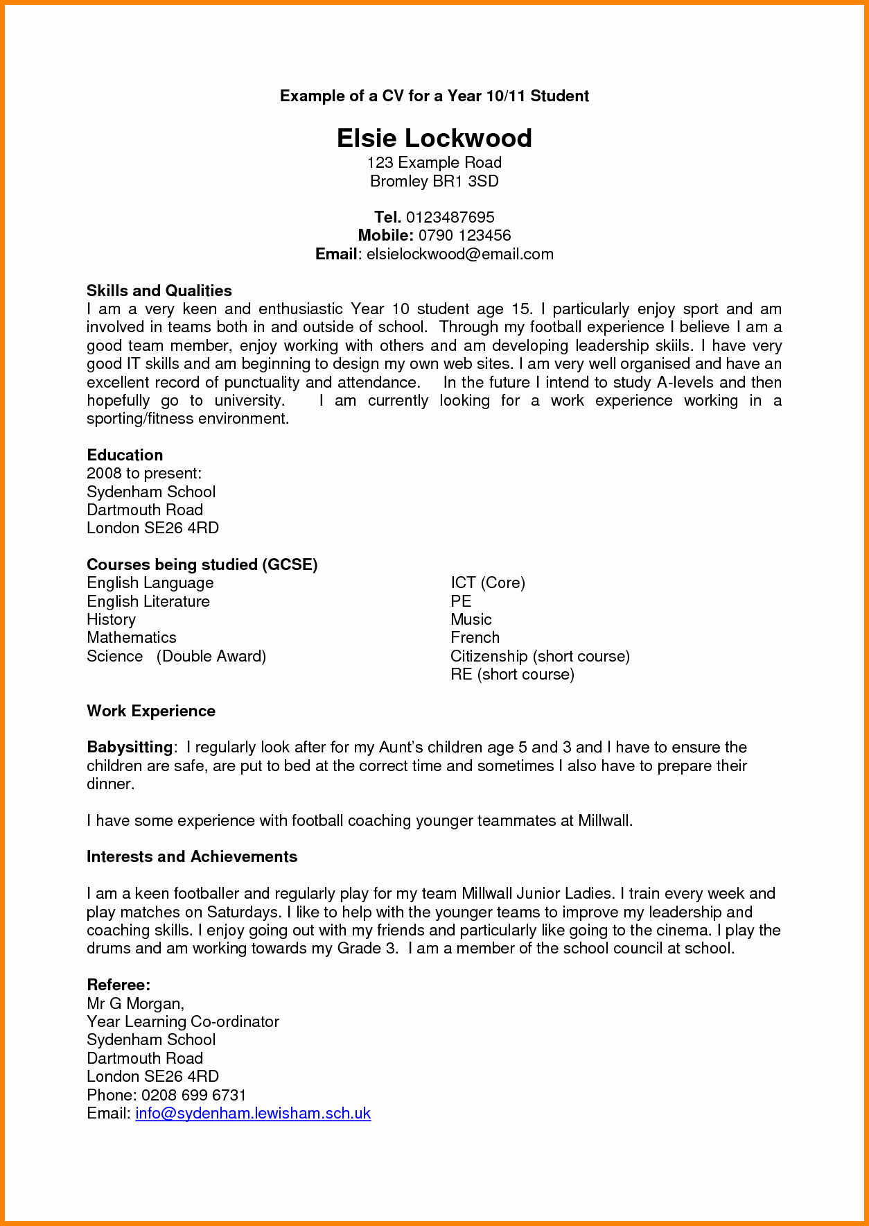 Free Resume Templates for Students New 7 Good Cv Template for Students