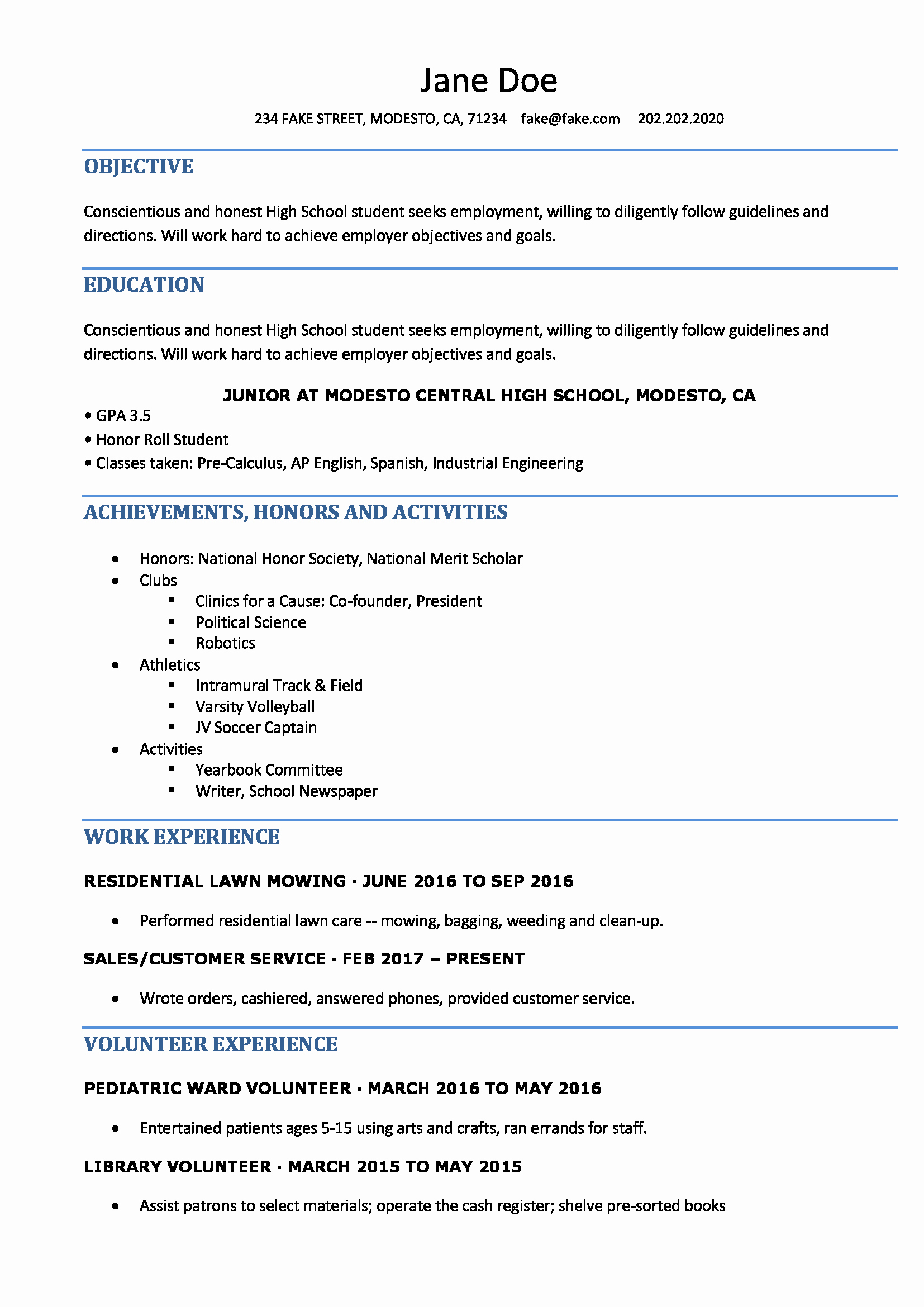 Free Resume Templates for Students Unique High School Resume Resumes Perfect for High School Students