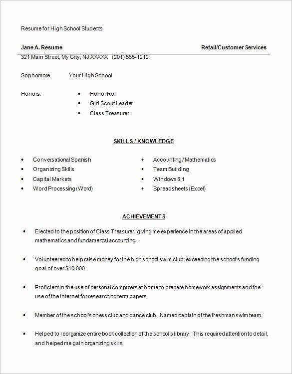 Free Resume Templates for Students Unique High School Resume Template 9 Free Word Excel Pdf