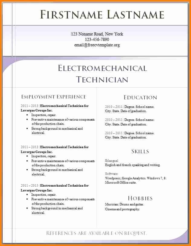 Free Resume Templates In English Awesome 12 English Cv Template