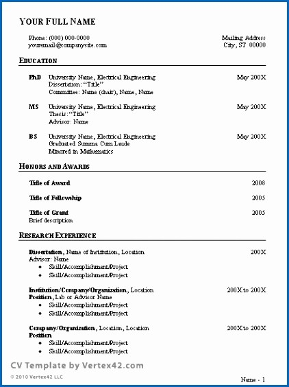 Free Resume Templates In English Beautiful Free Cv Template Curriculum Vitae Template and Cv Example