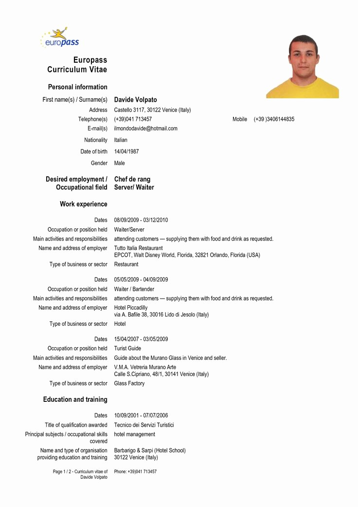 Free Resume Templates In English Best Of Europass Cv Vitae