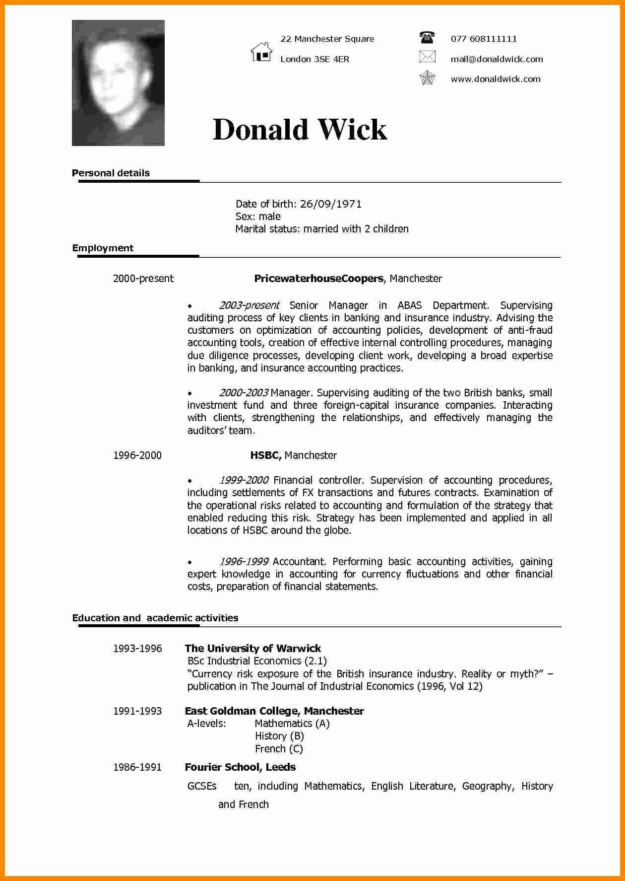 Free Resume Templates In English Elegant 5 Cv Sample In English