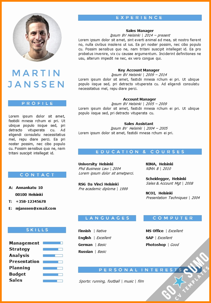 Free Resume Templates In English Elegant 6 English Cv Model Word