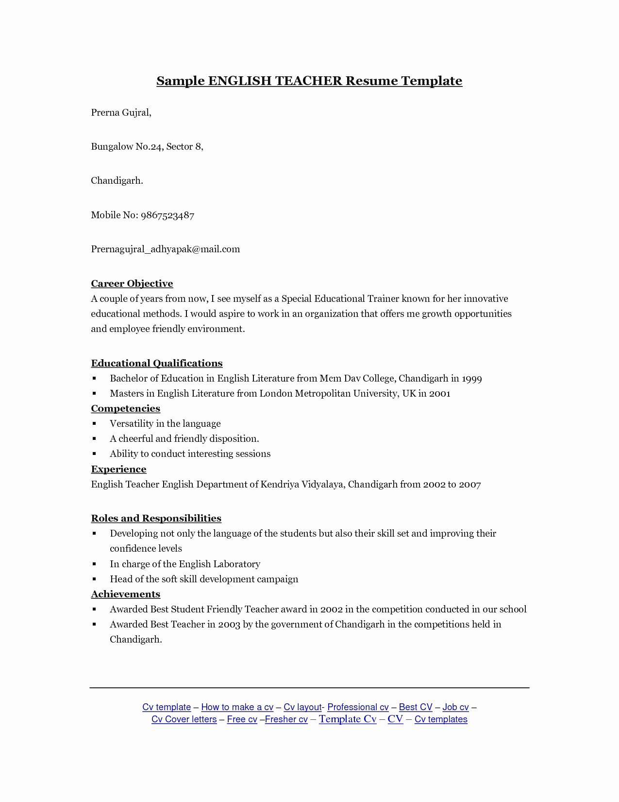 Free Resume Templates In English New Teacher Resume 9 Free Sample