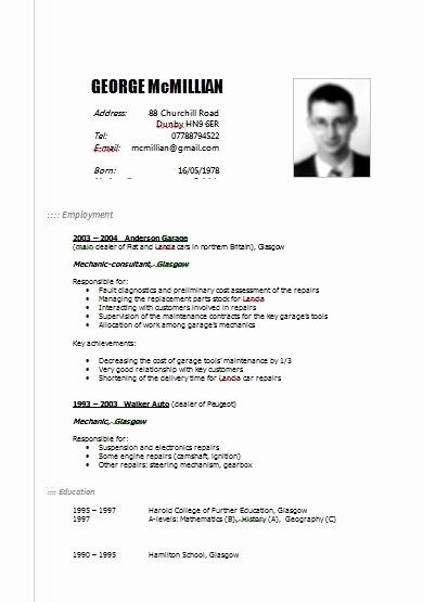 Free Resume Templates In English Elegant Free Cv Templates English Marchigianadoc