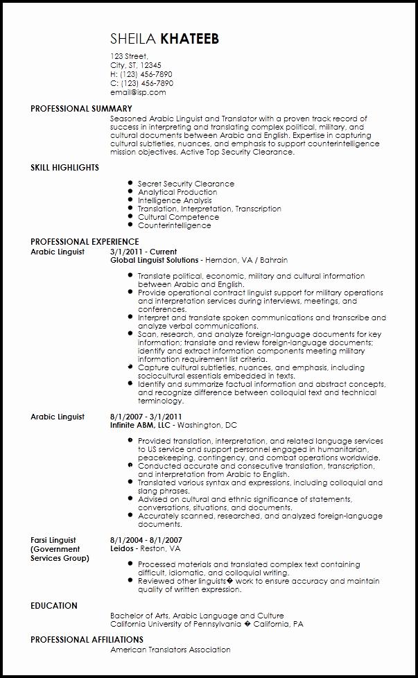 Free Resume Templates In English Fresh Free English Translation Cv