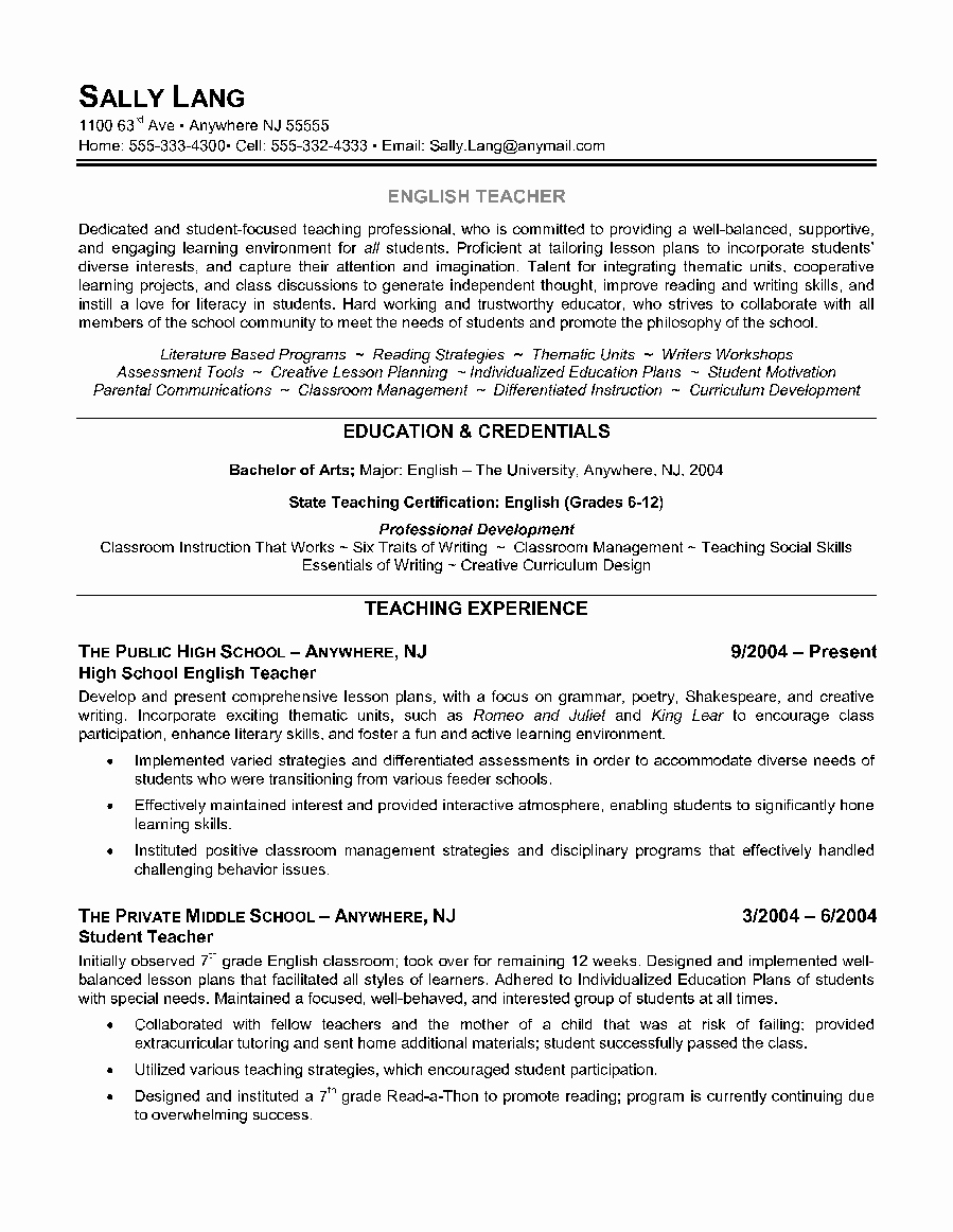 Free Resume Templates In English New English Teacher Resume Example Shows the Educator's