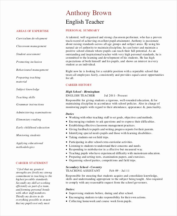 Free Resume Templates In English New Teacher Resume 9 Free Sample Example format