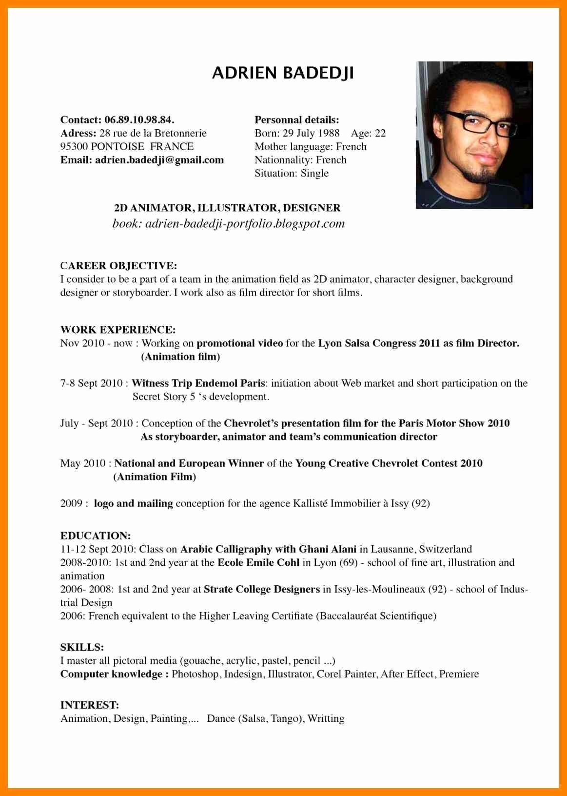 Free Resume Templates In English Unique Example Resume English Cv Profile Examples for Students