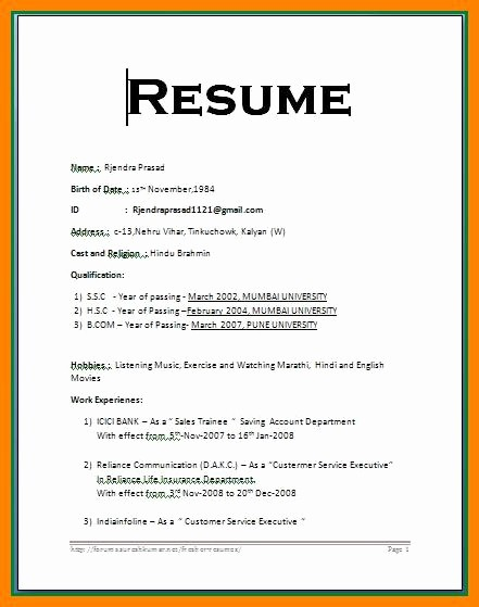 Free Resumes Download Word format Beautiful 6 Resume format In Word for Fresher
