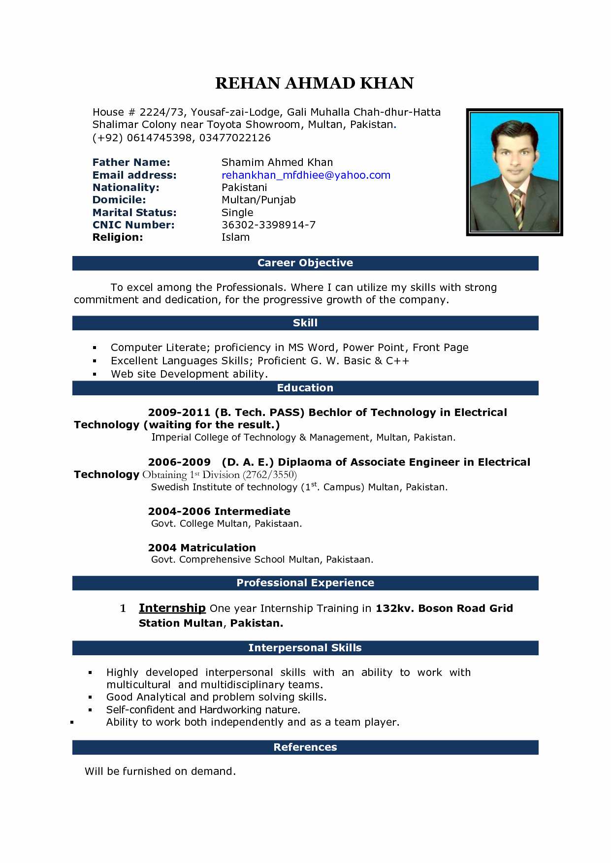 Free Resumes Download Word format Fresh Image Result for Cv format In Ms Word 2007 Free