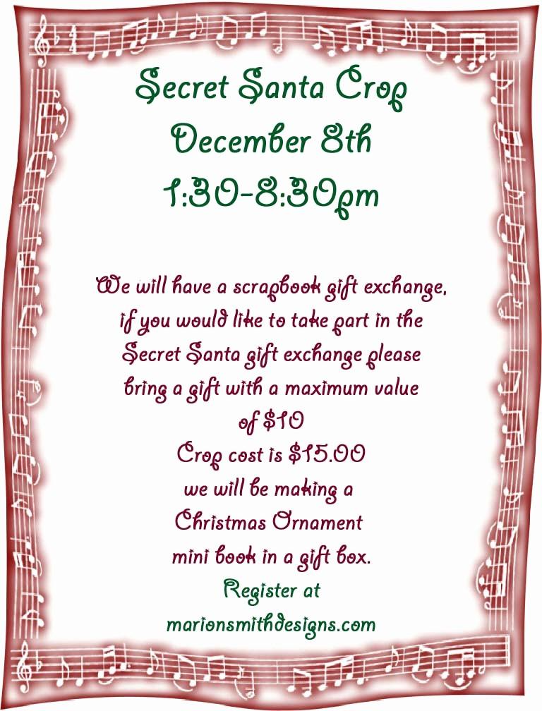 Free Secret Santa Flyer Templates Fresh A Piece Craft by Marion Smith Secret Santa Crop