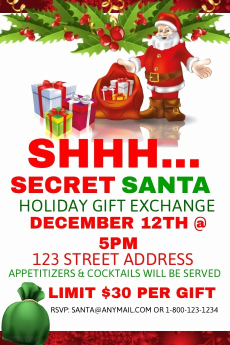 Free Secret Santa Flyer Templates Inspirational Secret Santa Holiday Gift Exchange