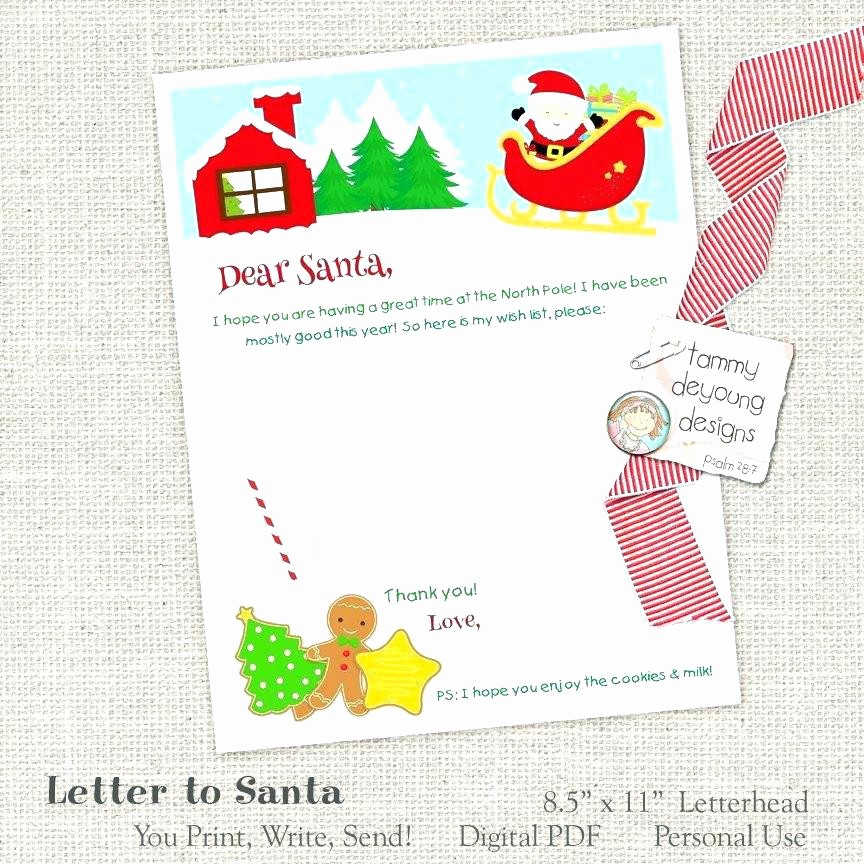 Free Secret Santa Flyer Templates Lovely Free Printable Letter to Template Cute Wish List Secret