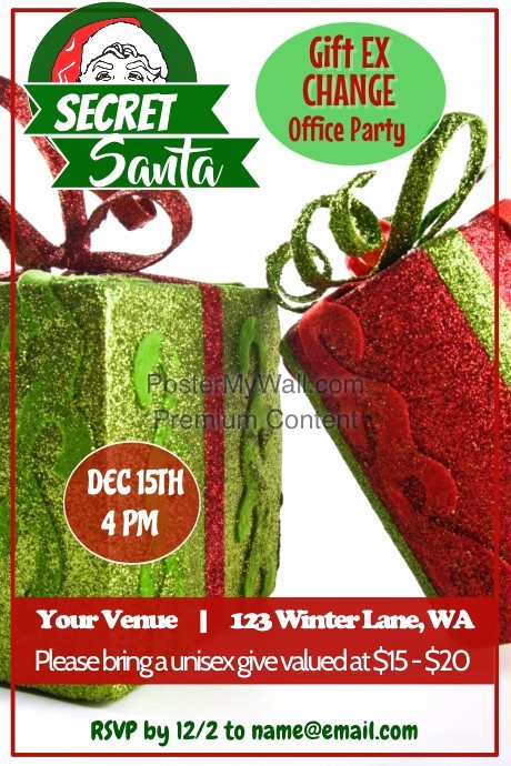 Free Secret Santa Flyer Templates Lovely Secret Santa Party Poster Template