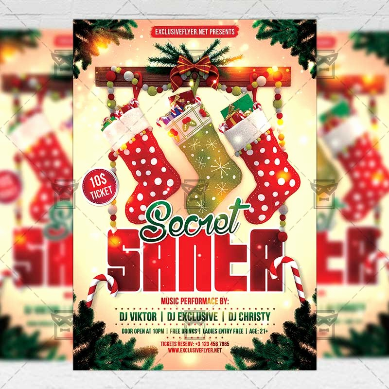 Free Secret Santa Flyer Templates Luxury Secret Santa – Seasonal A5 Flyer Template
