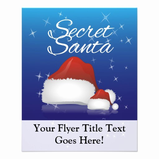 Free Secret Santa Flyer Templates New Secret Santa Blue Hat Personalized Flyer