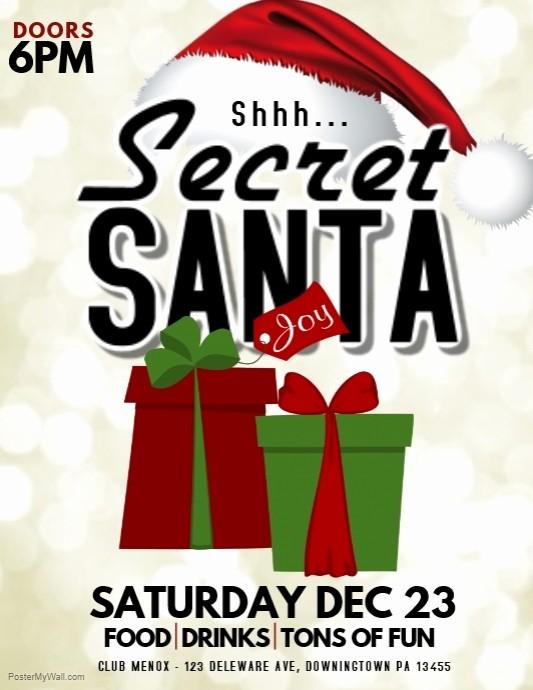 Free Secret Santa Flyer Templates Unique Christmas Template