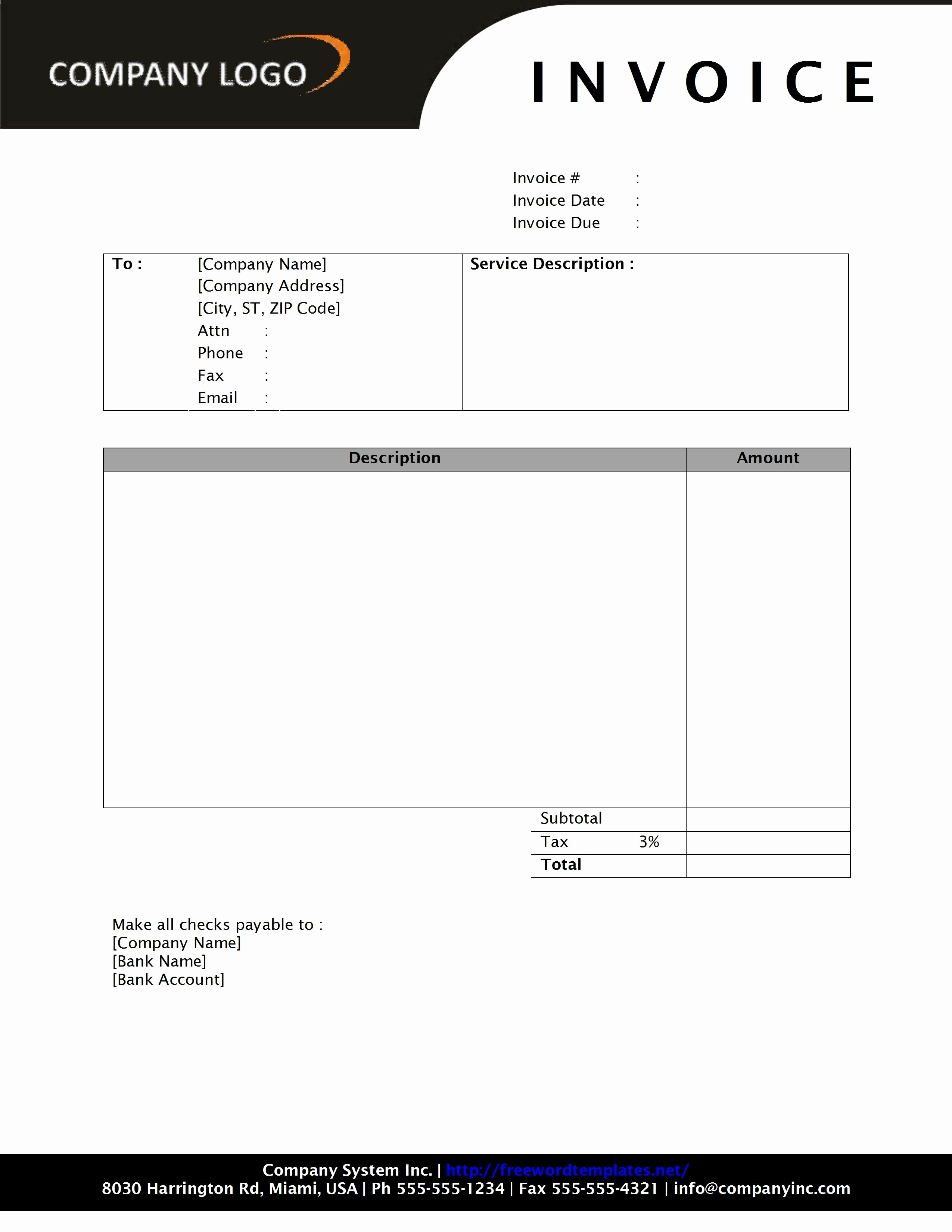 Free Service Invoice Template Download Awesome Invoice Template Word 2010