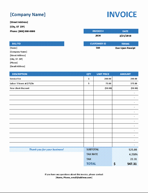 Free Service Invoice Template Download Awesome Invoices Fice