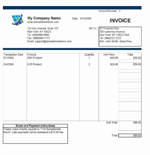Free Service Invoice Template Download Luxury Invoice Template Excel Free