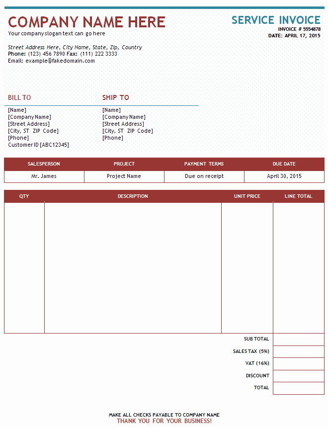 Free Service Invoice Template Download Luxury Sample Service Invoice Service Invoices