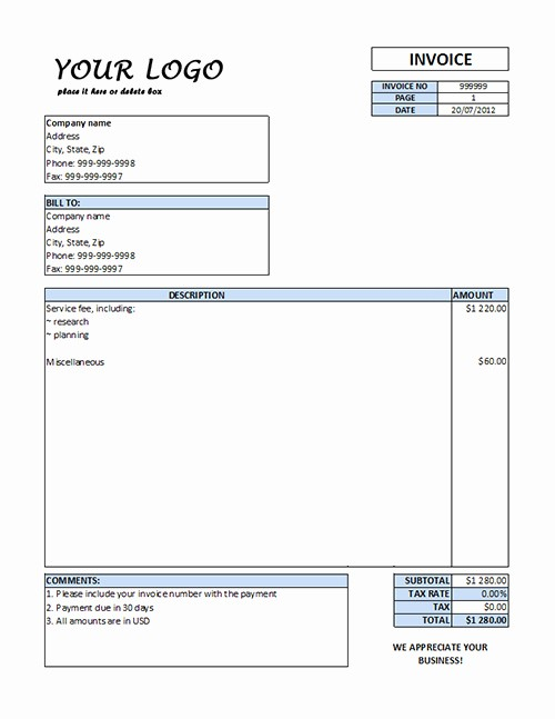 Free Service Invoice Template Download Unique Consulting Invoice Template Word
