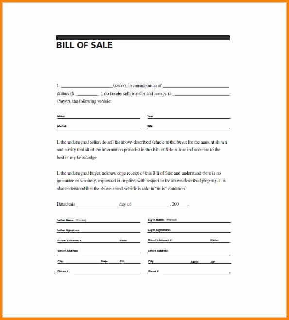 Free Simple Bill Of Sale Elegant Bill Sale form In Pdf