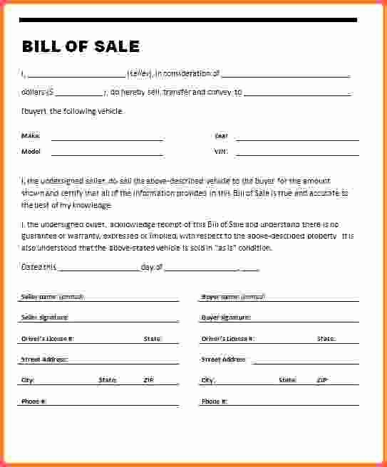 Free Simple Bill Of Sale Unique Example Bill Sale for Car