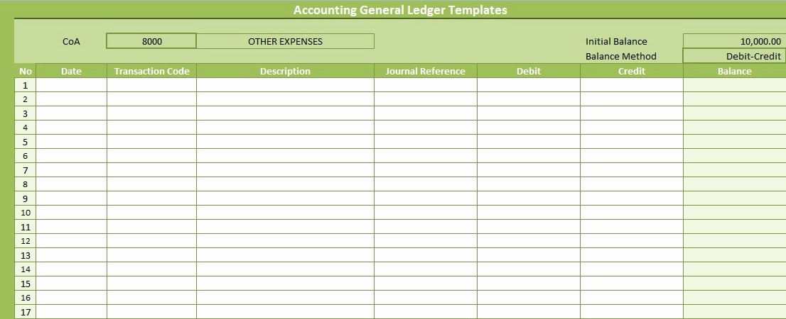 accounting general ledger templates free