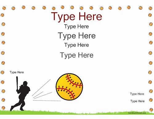 Free softball Certificates to Print Awesome Sports Certificates softball Certificate