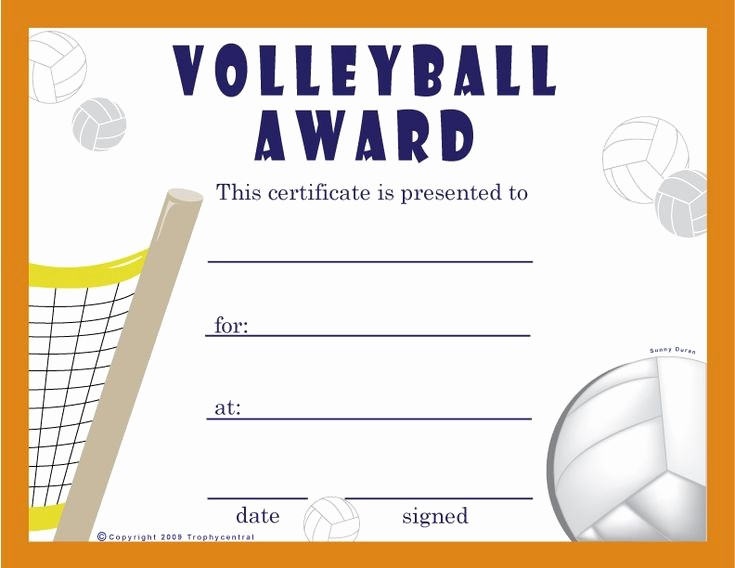 Free softball Certificates to Print Beautiful Free Volleyball Certificates $0 00 Sports