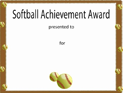 Free softball Certificates to Print Beautiful softball Certificate Award $2 50