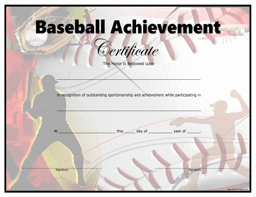 Free softball Certificates to Print Best Of Baseball Certificate Free Printable Allfreeprintable