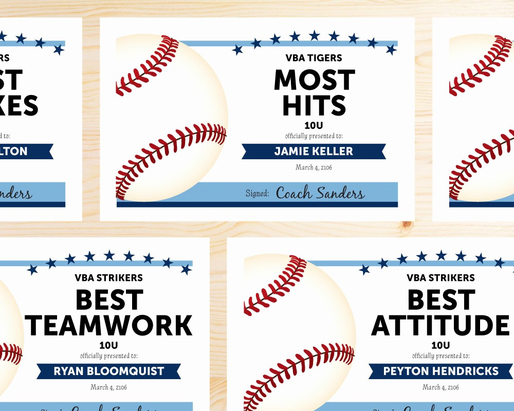 Free softball Certificates to Print Best Of Editable Baseball Award Certificates Instant Download