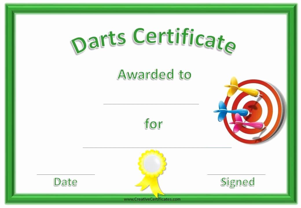 Free softball Certificates to Print Best Of Free Printable Darts Award
