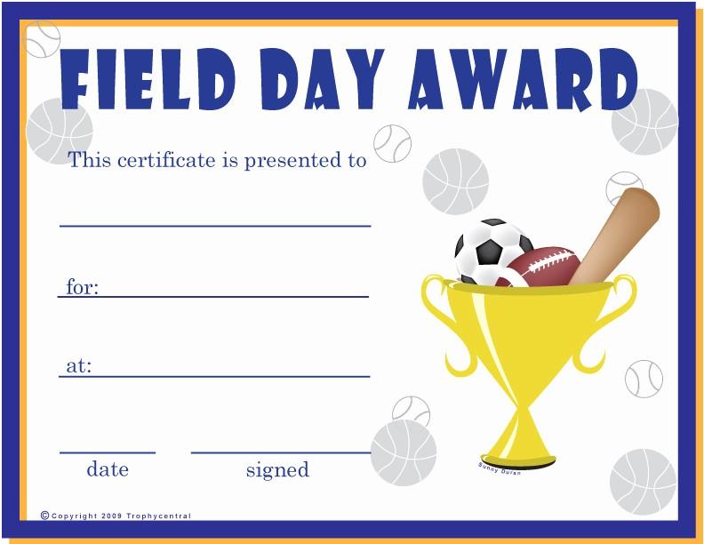 Free softball Certificates to Print Elegant Free Field Day Certificates Certificate Free Field Day