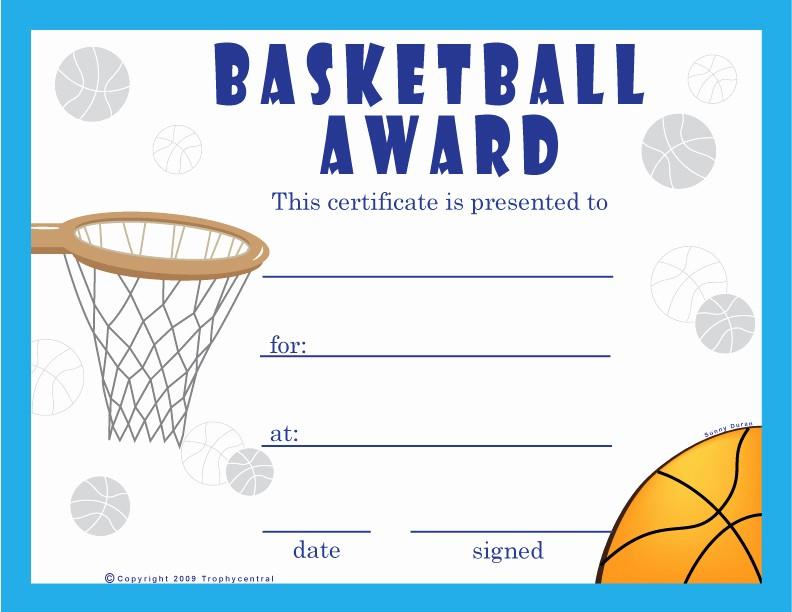Free softball Certificates to Print Inspirational Free Basketball Certificates Certificate Free Basketball