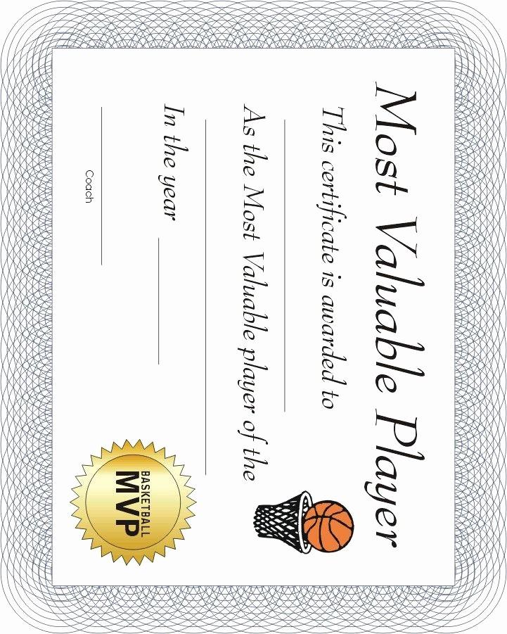 Free softball Certificates to Print Inspirational Free Printable Sports Certificate Basketball Mvp