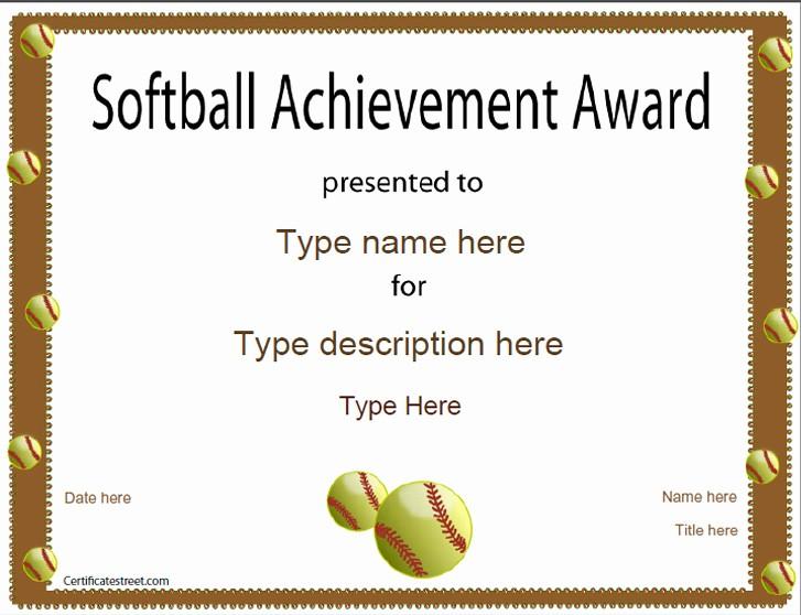 Free softball Certificates to Print Inspirational Sports Certificates softball Certificate