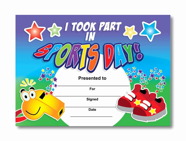 Free softball Certificates to Print Lovely I took Part In Sports Day Certificates