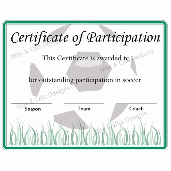 Free softball Certificates to Print New Free Printable soccer Participation Certificate