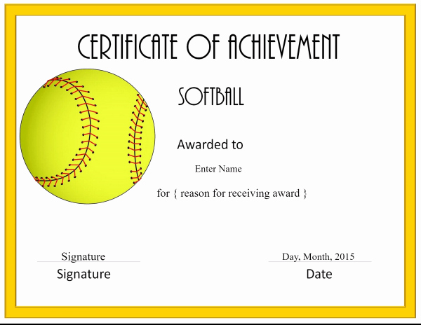 Free softball Certificates to Print New Free softball Certificate Templates Customize Line